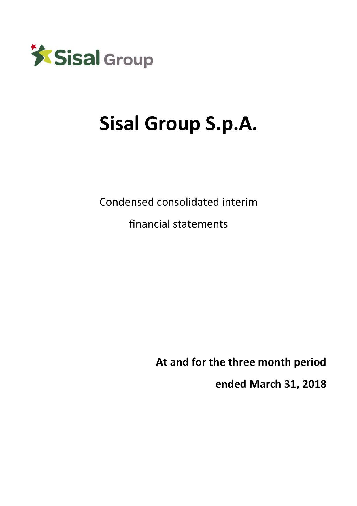 Sisal Group Consolidated Financial Statement March 31st, 2018
