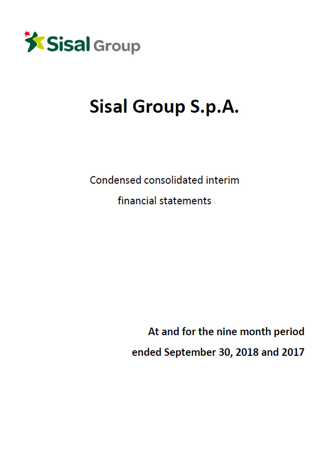 Sisal Group Consolidated Financial Statement September 30th, 2018